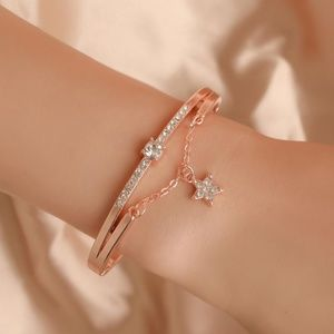 Diamond Rose Gold Five Pointed Star Metal Bracelet